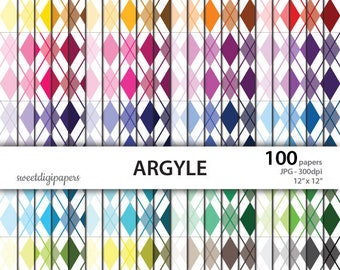 Colors argyle scrapbook paper, rainbow background, argyle digital paper, printable argyle paper, instant download