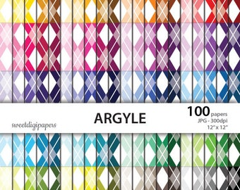 Argyle digital paper, colors background, rainbow argyle scrapbook paper, colors argyle digital, instant download