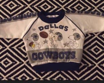 Rare 80s Baby Boy Snoopy Cowboys Sweatshirt Size 12 Months