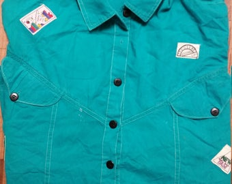 Retro 80s 90s Funky Men's Turquoise Blue Size XL fits like L