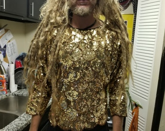 VINTAGE Gold Sequin Festival Shirt