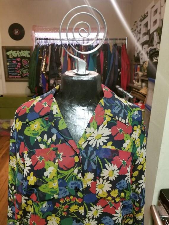Vintage Lizsport Transparent Floral 70s Vibe Shirt