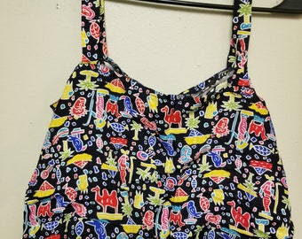 Vintage Egyptian Themed Ladies Crop Cami