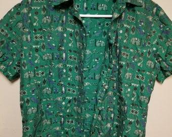Vintage Small Green Elephant Circus Shirt Silk