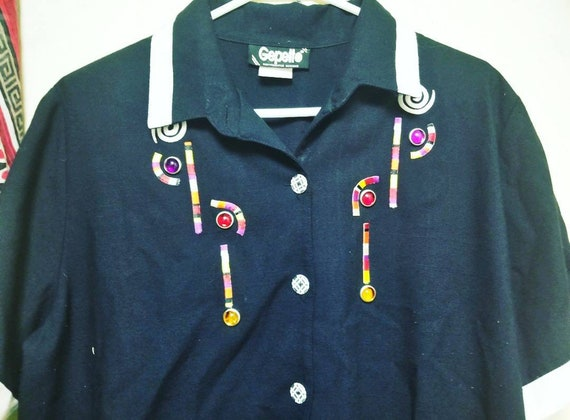 Vintage Gepetto Embroidered Jeweled Polo Shirt, S… - image 1