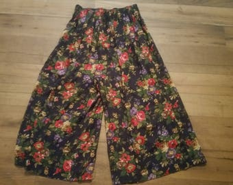 Vintage/Retro 70s? 80s? Pull-On Pants Floral Size 16
