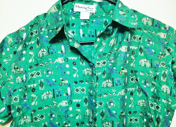 Vintage Small Shirt for Her, Green Elephant Circu… - image 1