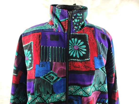 ERIN LONDON Vintage Colorful Abstract Jacket,  Vin