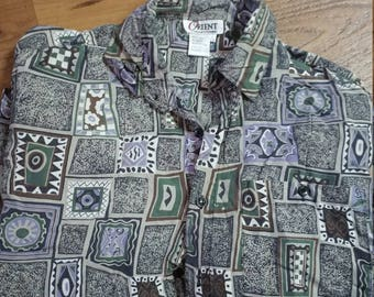 Vintage Men's Funky Dress Shirt Size L