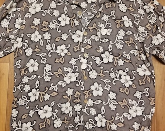 Vintage Men's Floral Button Down Shirt Size L