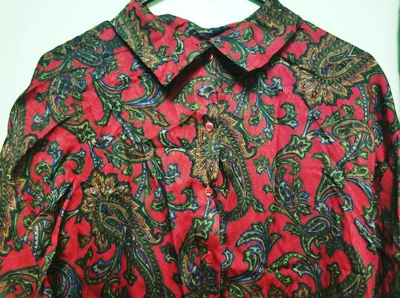 Vintage Paisley Pattern Shirt, Vintage Classy Red