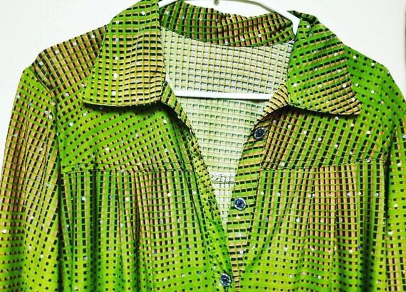 Amazing Hippie Jeweled Green Shirt, Festival Fashi