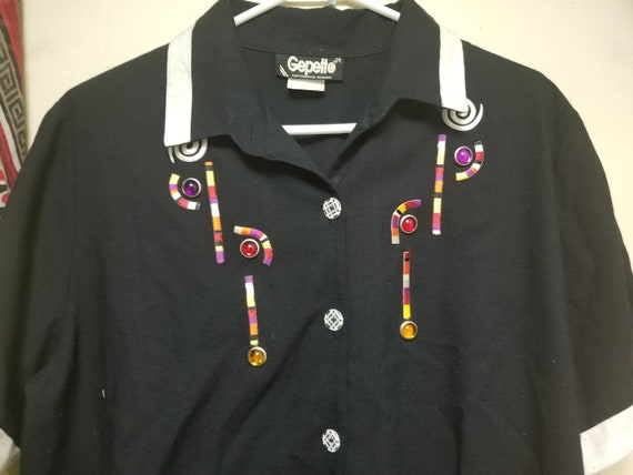 Vintage Gepetto Embroidered Jeweled Polo Shirt, S… - image 2
