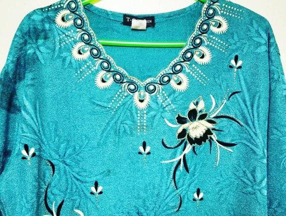 Vintage Iridescent Hippie Shirt, Vintage Blue Shir