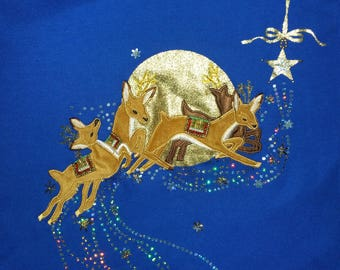 Ugly Christmas Sweater Reindeer Blue Size M?