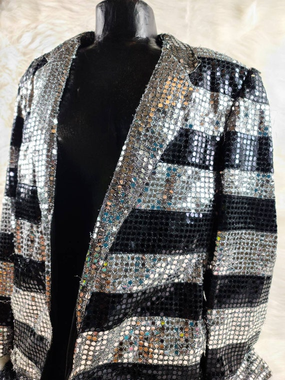 Vintage Super Trippy Sequin Suit Jacket - Western… - image 3
