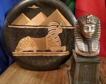 ODD Egyptian Pharaoh Decorative Metal/Wood Mini Sculpture and Wall Hanger