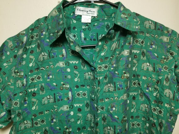 Vintage Small Shirt for Her, Green Elephant Circu… - image 2