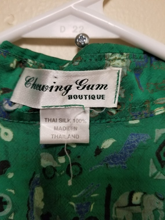 Vintage Small Shirt for Her, Green Elephant Circu… - image 6