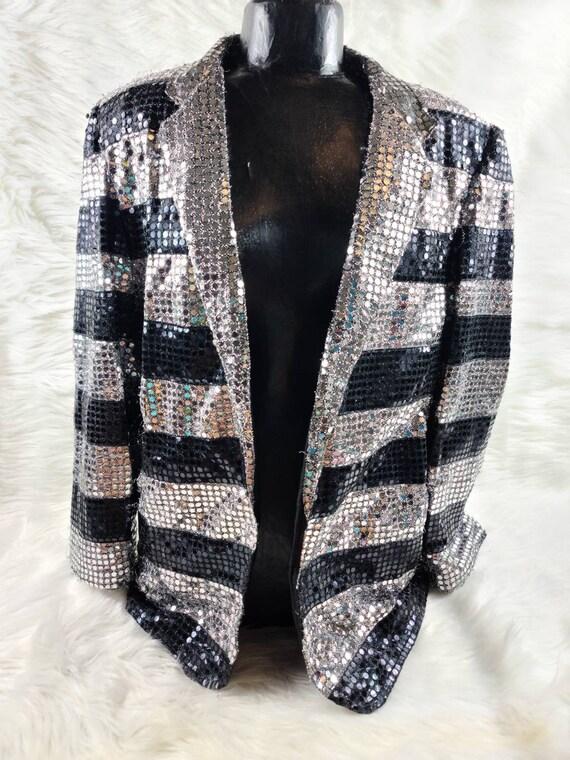 Vintage Super Trippy Sequin Suit Jacket - Western… - image 7