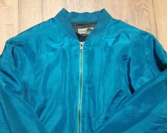 Vintage Shiny Blue Unisex Zipper Jacket  Size S