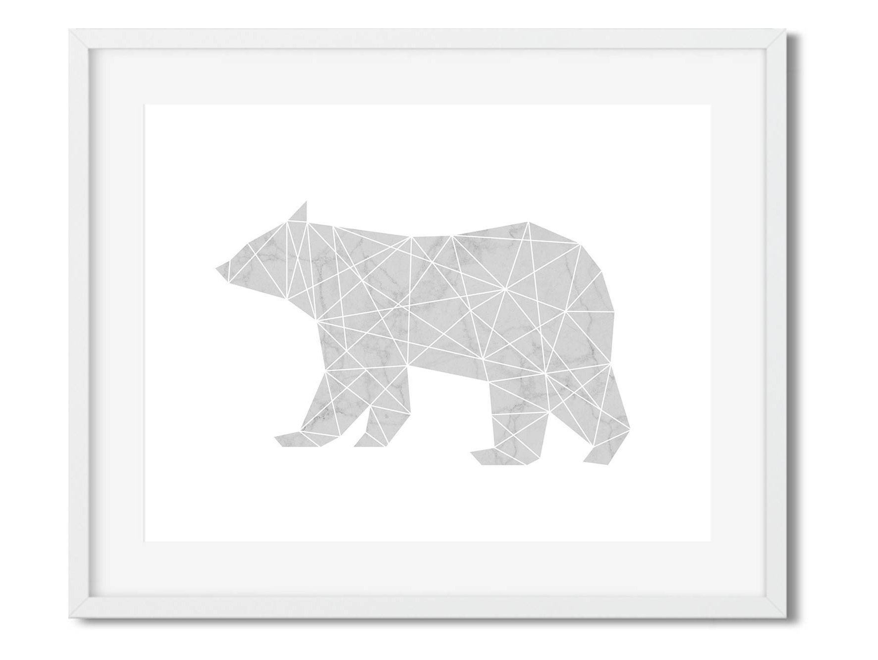 Oso polar silueta geométrica animales nórdicos / impresión | Etsy
