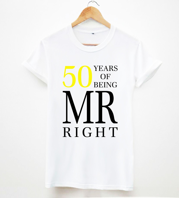 50 ans d'être d'être d'être mr droite le cadeau idéal pour papa / unisexe grand papa 50 slogan coton hommes tee tops T-shirt d5742a