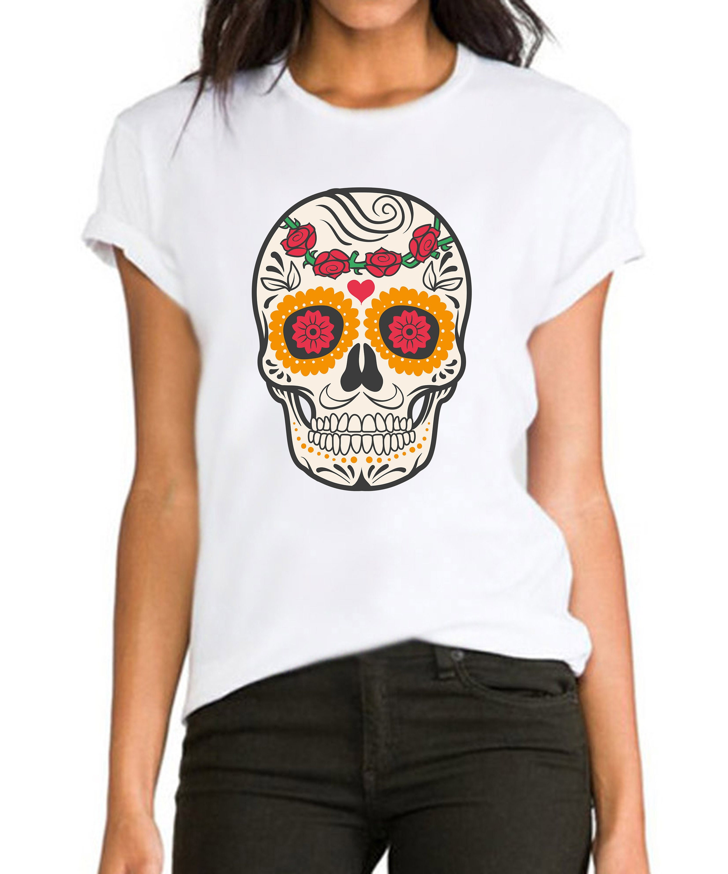 3a2e8402ccb7 Floral suger skull 3 lucky colourful ladies women s girls