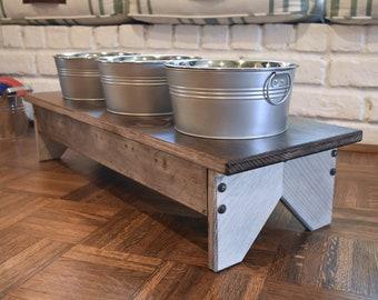 Rustic Dog Bowl Stand, Rustic Pet Decor, Galvanized Decor, Pet Decor, Pet Feeding Station