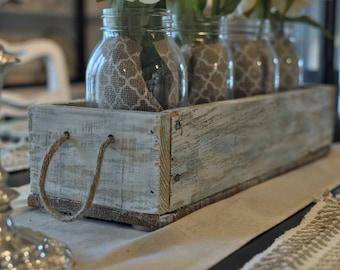 Reclaimed Wood, Centerpiece Box, Rustic Box, Box With Jars, Table Centerpiece, Farmhouse Decor