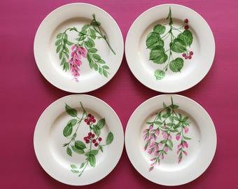Hand painted Porcelain four plates 7.5''