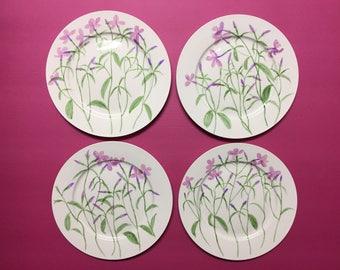 Hand painted Porcelain four plates 10.5''
