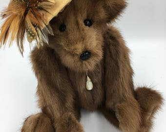 Teddy Bear Mink Fur,Up-Cycled, Fully Jointed, Vintage, Soft, Elegant, Handmade, Stylish,Beautiful, Collectible, One of a Kind, Brown Stripes