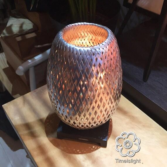 Lampe De Chevet Bambou Tresse En Double Peau Chromee Avec Etsy