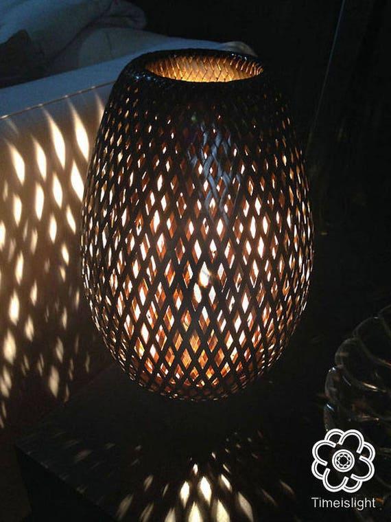 Bambus Lampe Leuchte Gewebt Bambus Von 35 Cm Schwarz Etsy