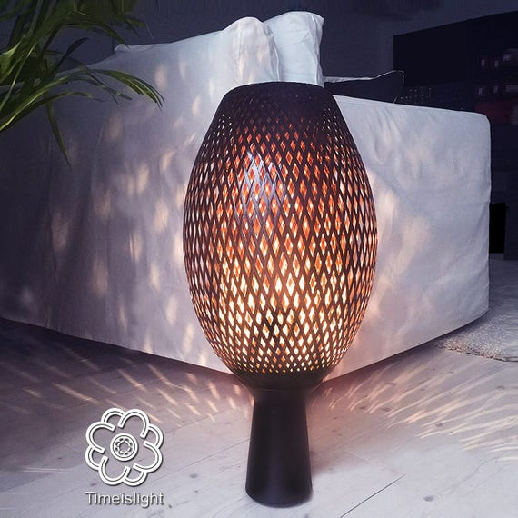 Bambus Lampe Lampe Geflochten Cocoon Auf Basis Lackierten Etsy