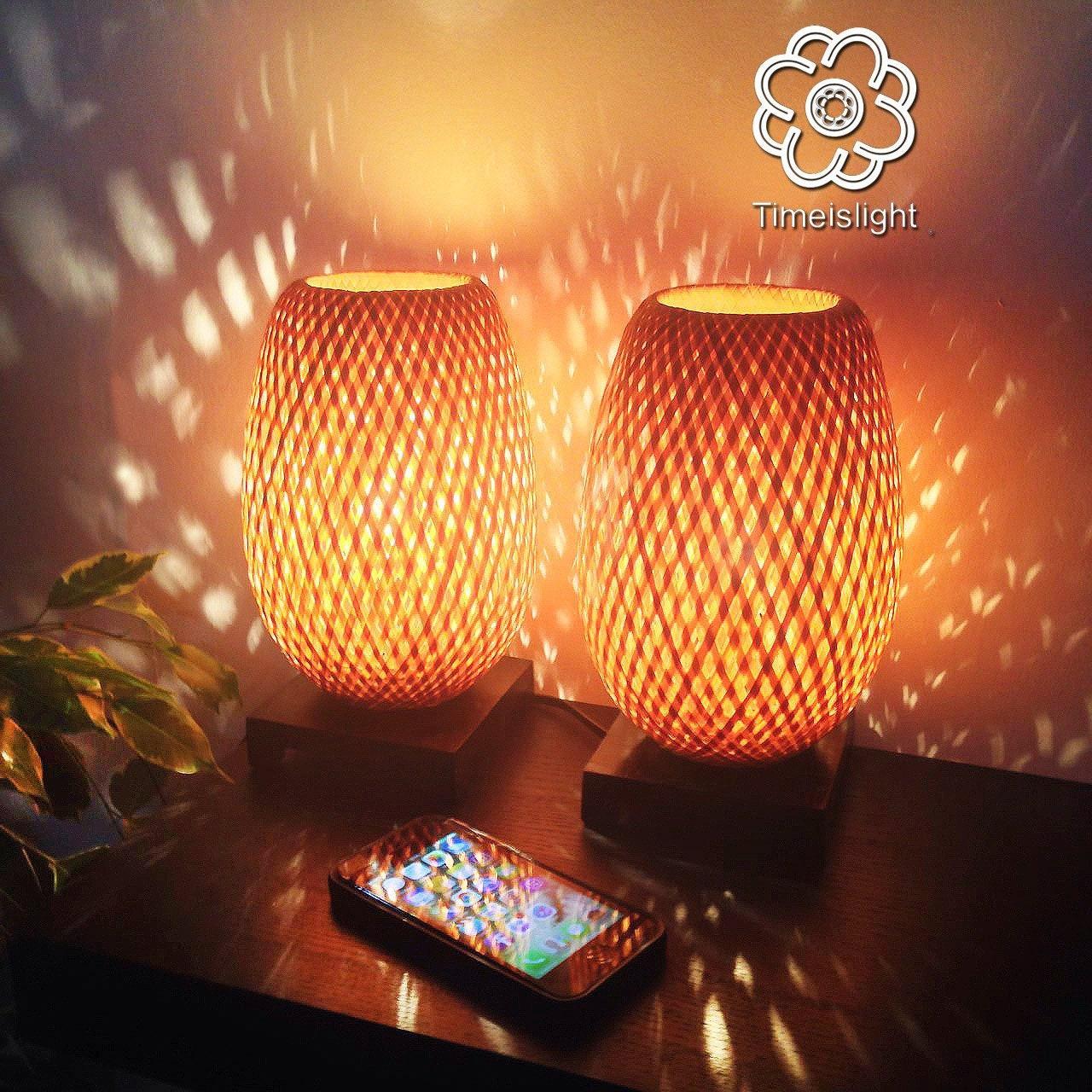 Paire De Lampes De Chevet Banh Mi En Bambou Tresse Variateur Etsy