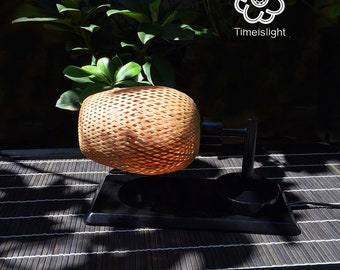 Bamboo lamp - table lamp HORIZONTAL BAMBOO - bamboo braided double skin + dimmer - L 22 cm x 16 cm x 21.5 H l
