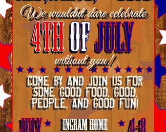 Fourth Of July, Red, White, Blue, 5x7, Digital Invitation, Independence Day, Stars