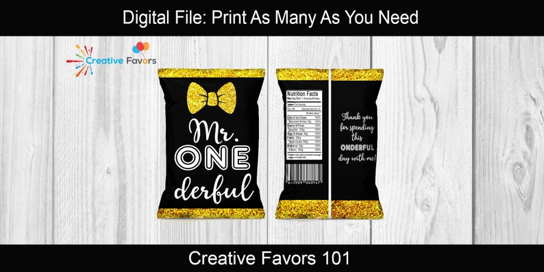 First Birthday Party Boy First Birthday Onederful Chip Bags Mr Mr Onderful Favors Onederful Birthday Party Mr Onederful Favors Mr