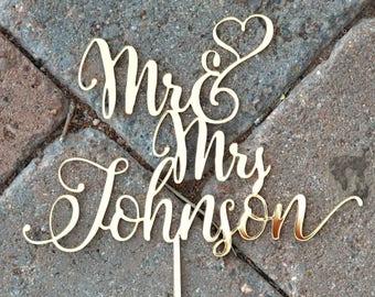 MR MRS WEDDING Custom Cake Topper / Customized Personal Topper/ Mirror Acrylic Topper