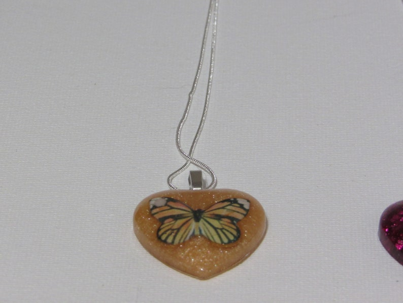 One of a kind Heart shaped necklace Butterfly necklace Heart necklace resin necklace heart shaped pendant Inspirational necklace