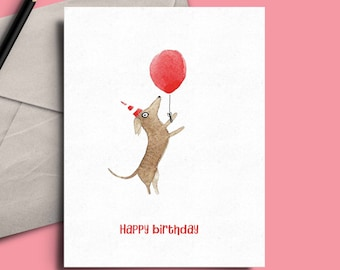 Standing sausage dog with balloon birthday card (code SM038)