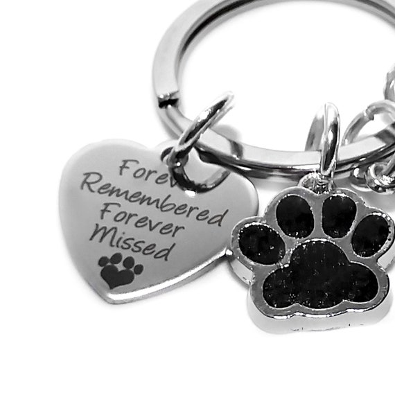 "/""Forever Remembered Forever Missed/"" key ring dog cat pet alloy charm"