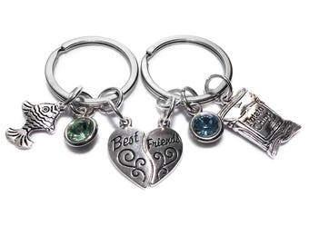 Best Friends Key Chains Fish and Chips Birthstone Set of 2 Gift