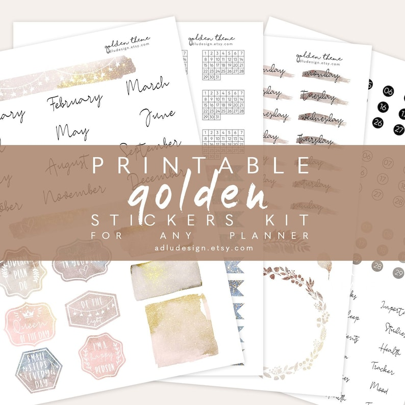 photograph relating to Etsy Printables named A4 Golden Every month Stickers Package Printable, Bullet Magazine Stickers, Watercolors Bouquets Stickers, Times Weeks Stickers, Simple Stickers