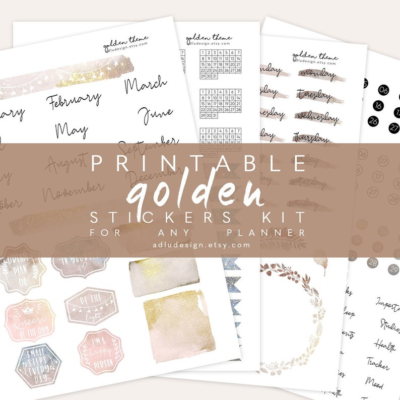 photo relating to Etsy Printables identified as A4 Golden Month to month Stickers Package Printable, Bullet Magazine Stickers, Watercolors Bouquets Stickers, Times Weeks Stickers, Realistic Stickers