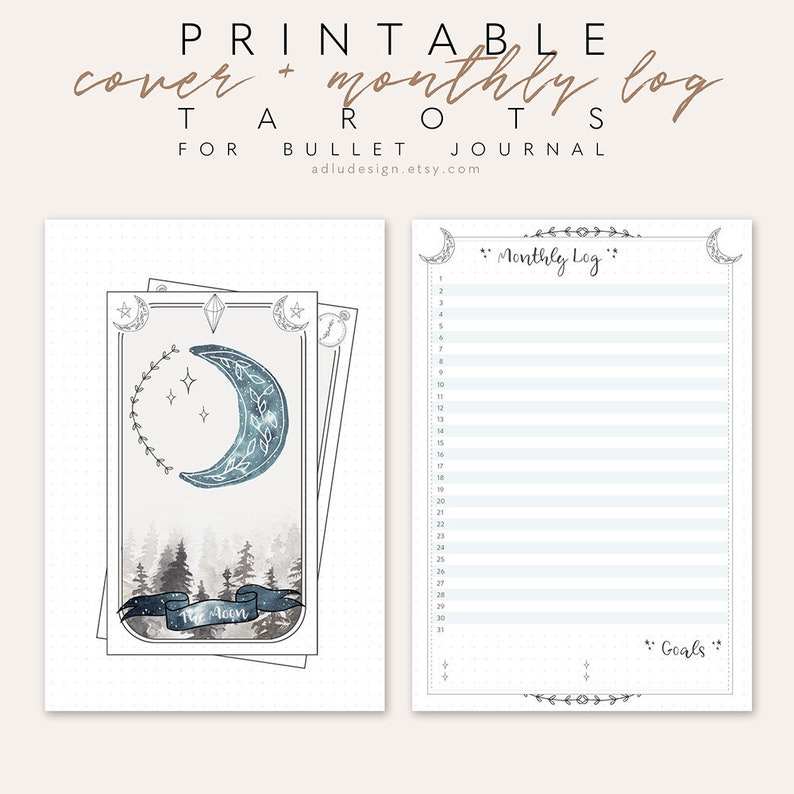 image regarding Free Printable Tarot Journal identified as Tarot Playing cards Every month Distribute Printable, Least Bullet Magazine Incorporate, Regular monthly Design and style, Undated Log, Tarot Playing cards Deal with, Bujo Unfold, Moon Card