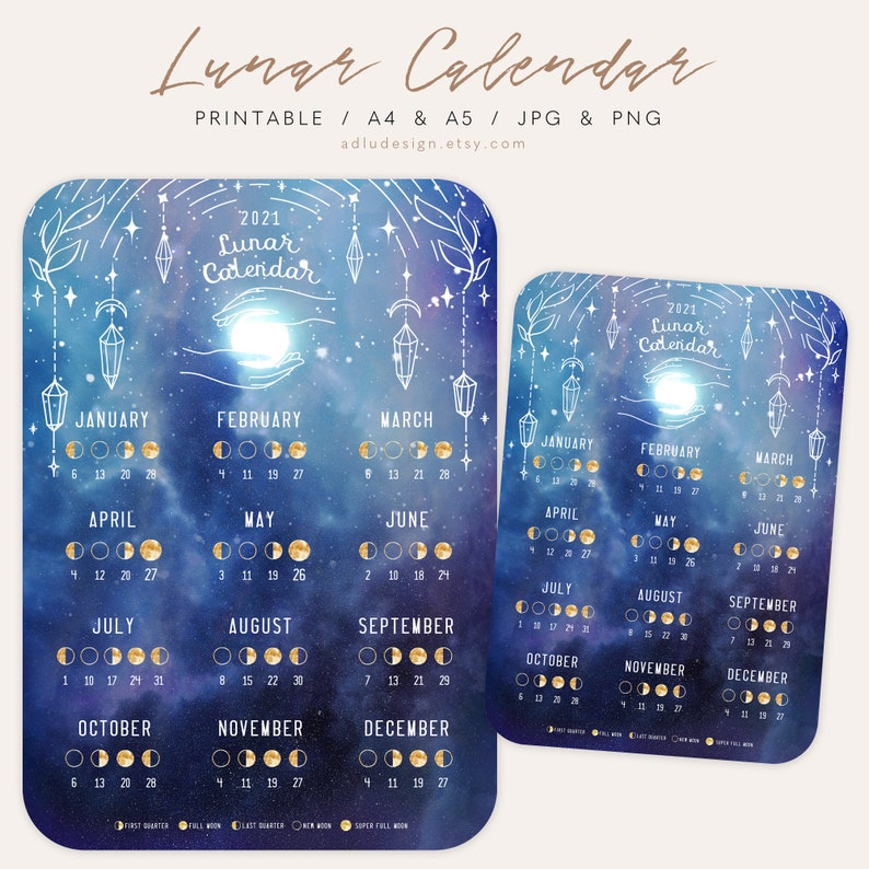 Lunar Calendar 2021 Printable Moon Phases and Cycles | Etsy