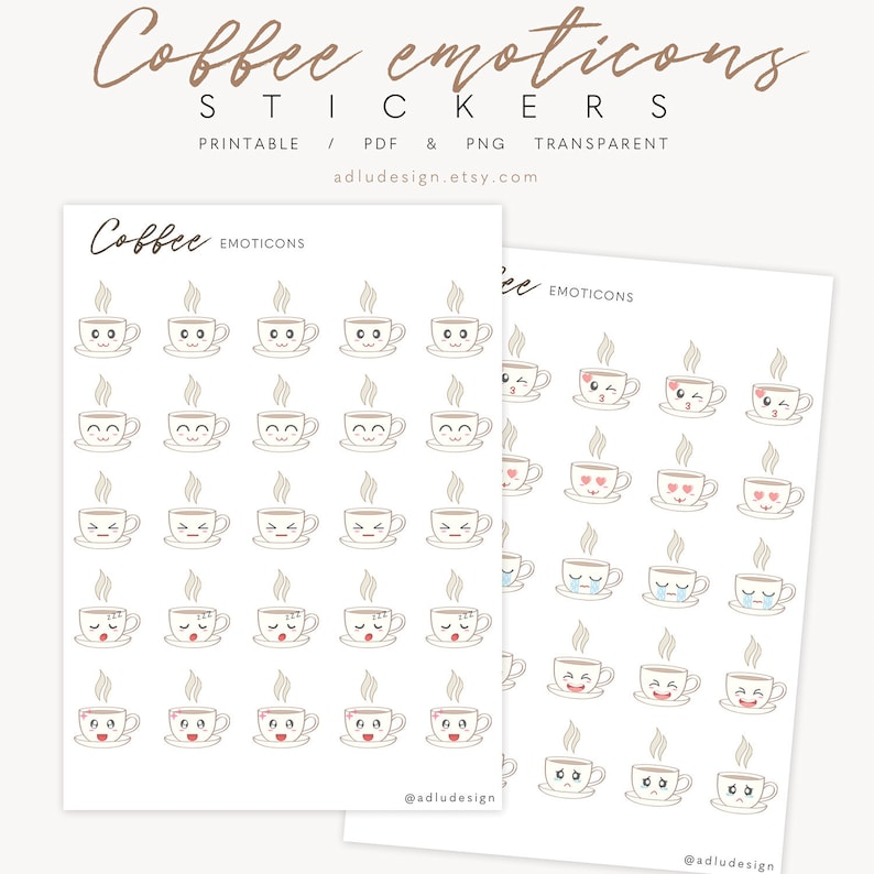 Mood Emoticons Stickers Printable for Bullet Journal, Cute Coffee Emoji  Stickers for any Planner, PDF